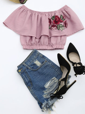 Floral Patched Flounce Crop Blouse Pink