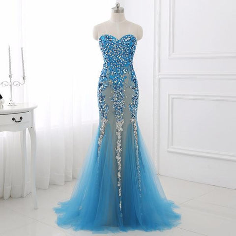 Blue Princess Sparkle Frozen Tulle Evening Prom Dress