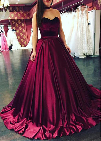 Burgundy Velvet Ball Gown Prom Dress