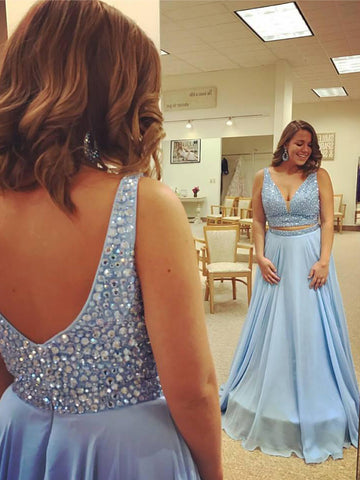 V-neck Sleeveless Beading Plus Size Prom Dress