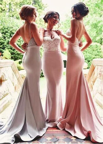 Graceful Stretch Satin Spaghetti Straps Neckline Mermaid Bridesmaid Dresses With Lace Appliques