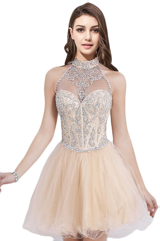 Short Beading Halter A-line Homecoming Prom Dresses