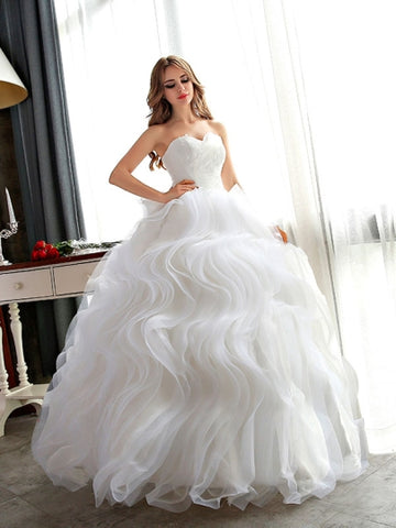 Plus Size Floor-Length Ruffles Ball Gown Wedding Dress
