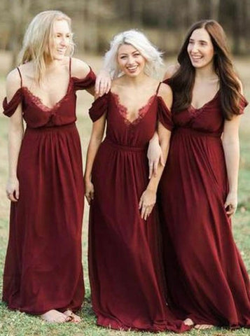 Chiffon Off Shoulder Dark Red Bridesmaid Dress with Ruffles