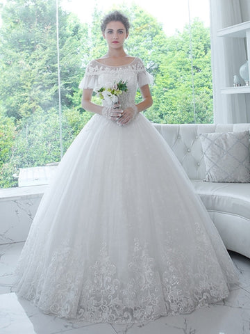 Short Sleeves Ball Gown Wedding Dress