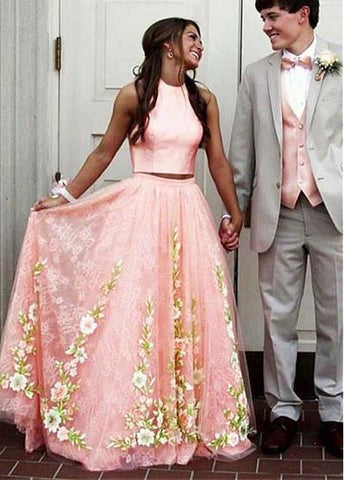 Two-piece Lace Appliques Coral Prom Dress
