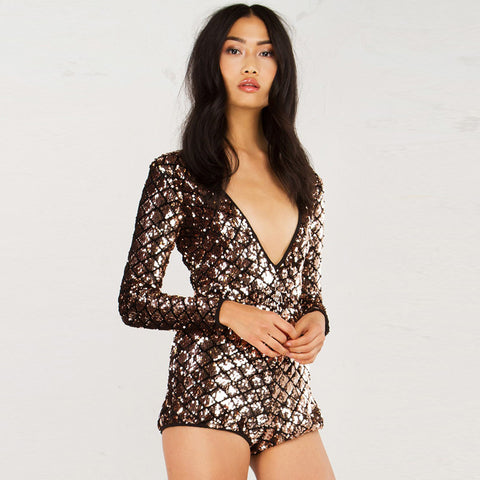 Long Sleeve Sequin Backless Dress