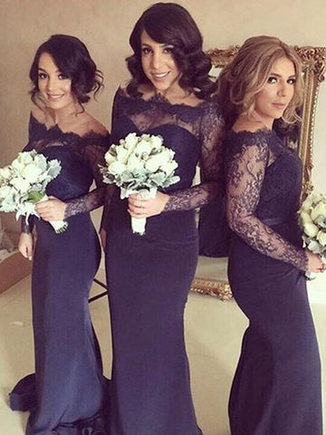 Mermaid Off-the-Shoulder Long Sleeves Navy Bridesmaid Dress