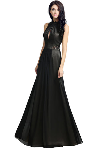 Modest Chiffon High Collar Neckline Keyhole A-line Evening Dresses With Lace