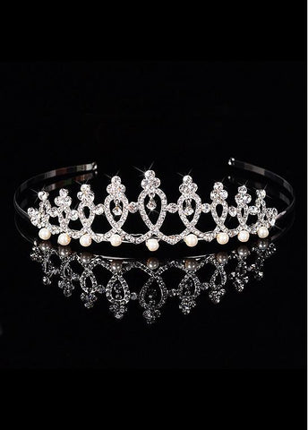 Dazzling Silver Plated Alloy Wedding Tiara With Rhinestones & Pearls