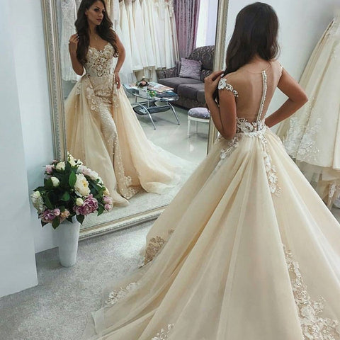 Illusion Back Light Champagne Wedding Dress with Appliques Overskirt