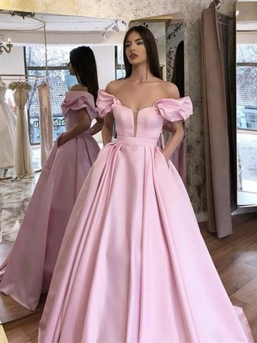 Long A-Line Pink Satin Off The Shoulder Prom Evening Dress