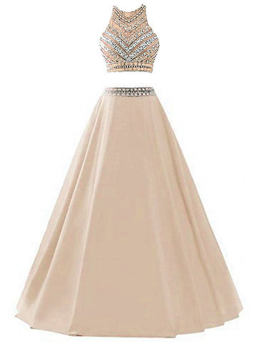Satin Sequined Prom Dresse