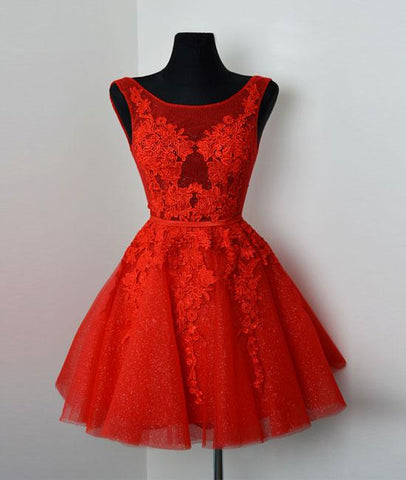 Red V Neck Lace Tulle Short Prom Dress