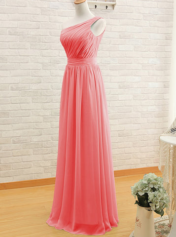 One-shoulder Long Watermelon Bridesmaid Dress