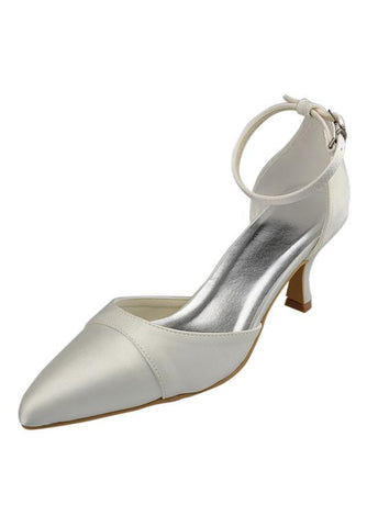 Elegant Satin Upper Closed Toe Stiletto Heels Bridal Shoes