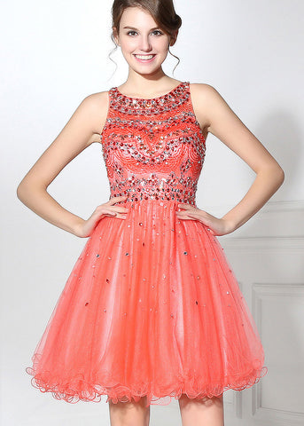 Romantic Tulle Jewel Neckline A-line Short Homecoming Dresses With Beadings
