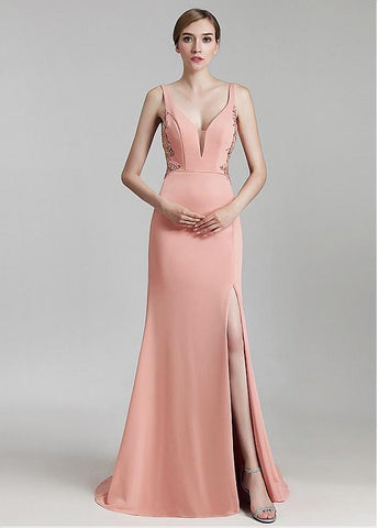 Crystal V-neck Neckline Mermaid Evening Dress With Beadings & Slit