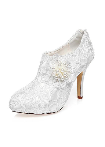 Charming Satin & Lace Upper Closed Toe Stiletto Heels Wedding Shoes With Pearls