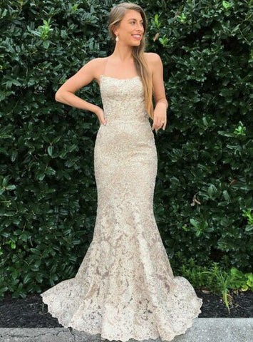 Long Champagne Mermaid Lace Spaghetti Straps Prom Dress