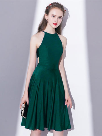 Green Halter Knee-Length Homecoming Dress