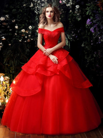 Red Lace Tulle Ruffles Wedding Dress in Color