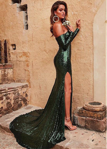 Sequin Lace Off-the-shoulder Green Prom Dress With Slit
