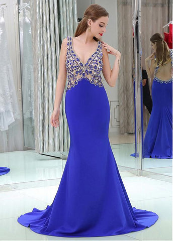 Tulle & Linen V-neck Neckline Cut-out Mermaid Prom Dresses With Beadings