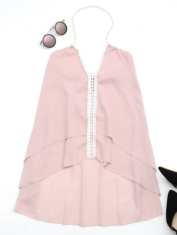 Pink Halter Openwork Asymmetric Sleeveless Top