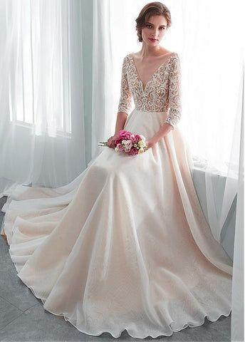 Embroidery Organza V-neck Champagne A-line Wedding Dress
