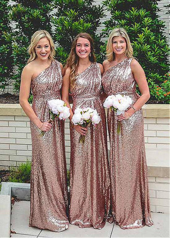 High Quality Sequin Lace One-shoulder Neckline Sheath / Column Bridesmaid Dresses