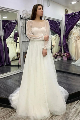 Pearls A Line Tulle Long Sleeve Two Piece Wedding Dress