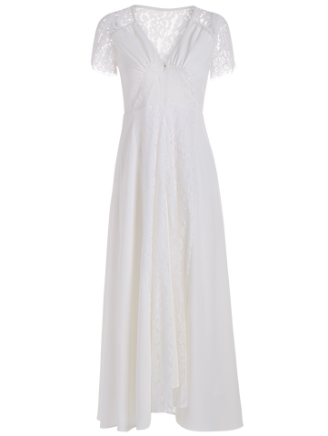 White Front Zippered Lace Panel Maxi Dress
