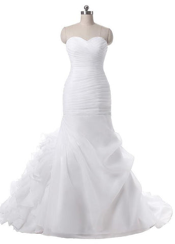 Attractive Organza Satin Sweetheart Neckline Mermaid Wedding Dresses