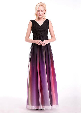 Eye-catching Gradient Chiffon Prom Dresses With Pleats