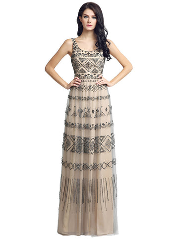 Shimmering Tulle Scoop Neckline Cut-out Back Full-length A-line Evening Dresses With Beadings