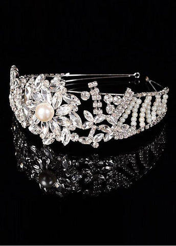 Sparkling Silver-plated Alloy Tiara With Rhinestones & Pearls