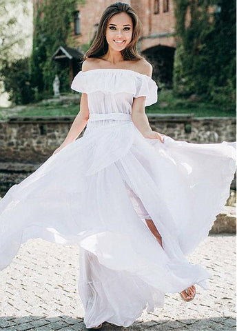 Belt & Ruffles Chiffon Off-the-shoulder A-line Wedding Dress
