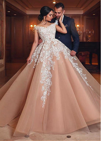 Champagne Tulle Off-the-shoulder Lace Appliques Ball Gown Wedding Dress