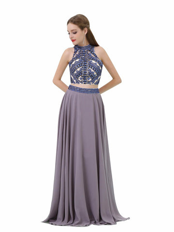 Gary Beading High Neck Two Piece Prom Dress