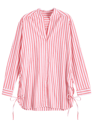Pink Side Lace Up Longline Striped Shirt