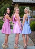 Fantastic Taffeta V-neck Neckline Short A-line Bridesmaid Dresses With Bowknot