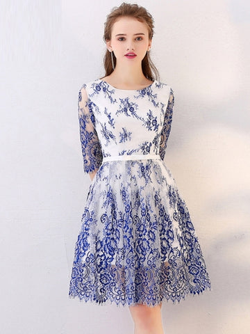 Blue Half Sleeves Scoop Lace Homecoming Dress