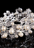 Silver-plated Alloy Bracelets With Rhinestones & Pearls