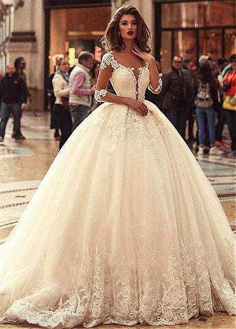Beading Tulle Scoop Long Sleeves Ball Gown Wedding Dress