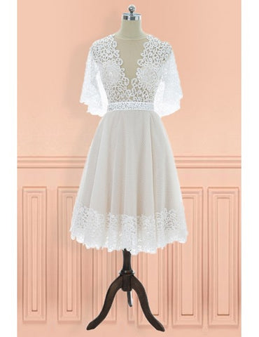 Vintage V-neck Lace Knee Length Wedding Dress with Sleeves