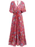 Patterned Plunging Neck Tied Drawstring Maxi Dress