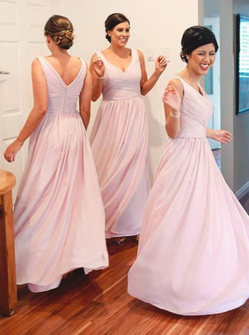 Chiffon V-Neck Ruched Pink Bridesmaid Dress