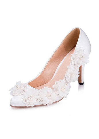 Sweet Satin Upper Closed Toe Stiletto Heels Wedding/ Bridal Party Shoes With Flowers & Pearls