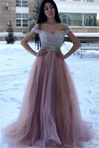 Champagne Appliques Off-The-Shoulder A-Line Tulle Prom Dress